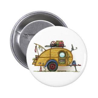 Cute RV Vintage Teardrop Camper Travel Trailer Buttons