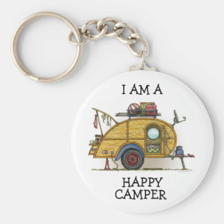 Cute RV Vintage Teardrop  Camper Travel Trailer Basic Round Button Key Ring