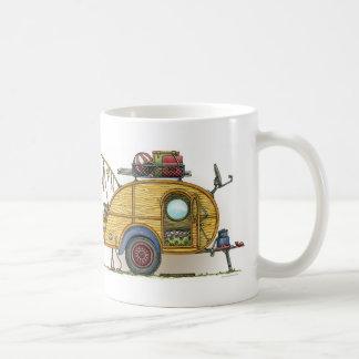 Cute RV Vintage Teardrop  Camper Travel Trailer Basic White Mug
