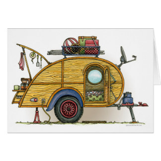 Cute RV Vintage Teardrop  Camper Travel Trailer Card