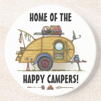 Cute RV Vintage Teardrop  Camper Travel Trailer Coaster