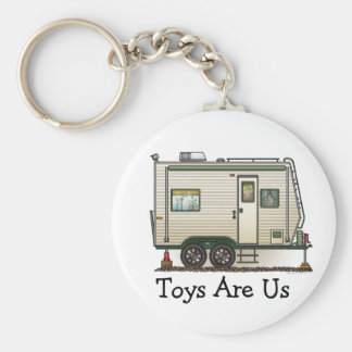 Cute RV Vintage Toy Hauler Camper Travel Trailer Basic Round Button Key Ring