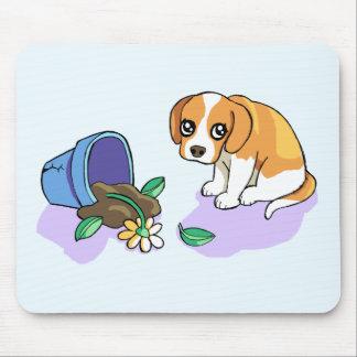 Cute Sad Brown Beagle Puppy Dog Drawing Mousepad