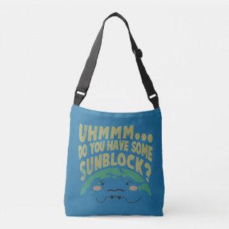 Cute Sad Earth Wanting a Sunblock Crossbody Bag