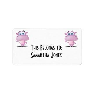 cute sad little hippo address label
