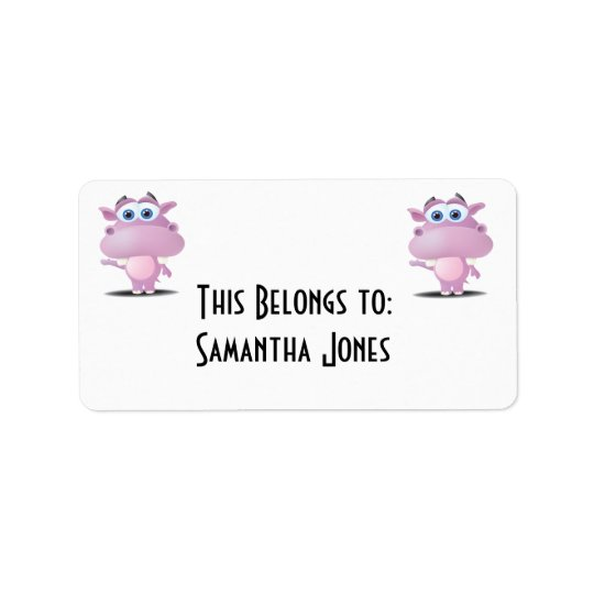 cute sad little hippo label