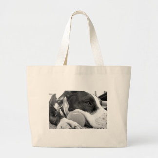 cute sad looking pitbull dog black white with ball large tote bag