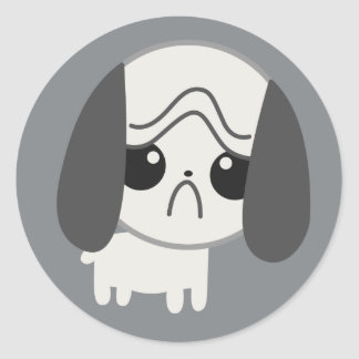 Cute Sad Pug Puppy Classic Round Sticker
