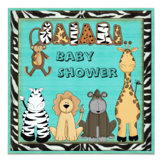 Cute Safari Animals Blue Baby Boy Shower Card