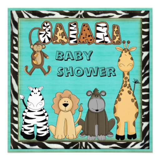 Cute Safari Animals Blue Baby Boy Shower Custom Announcements