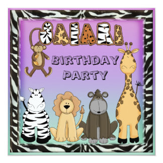 Cute Safari Animals Chic Birthday Party 13 Cm X 13 Cm Square Invitation Card