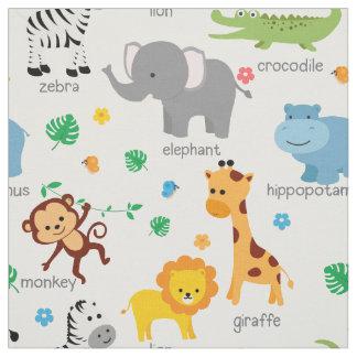 Cute Safari Animals Nursery Fabric