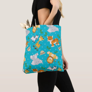 Cute Safari Animals Print Tote Bag