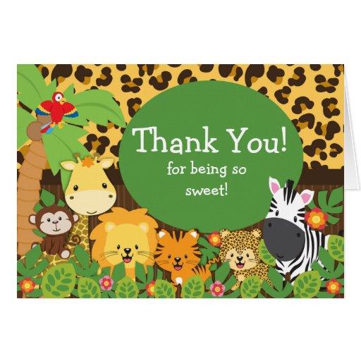 Cute Safari Animals Thank You Note Card