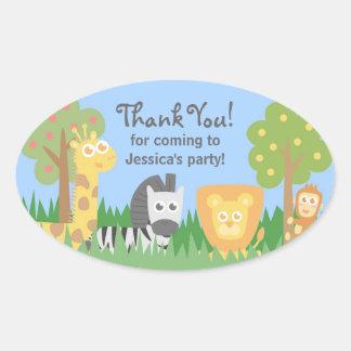 Cute Safari Animals Theme Birthday Party Sticker