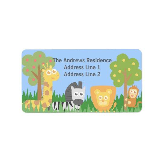 Cute Safari Animals Themed Birthday Party Address Label