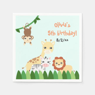 Cute Safari Birthday Paper Serviettes