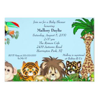 "Cute Safari It's A Jungle Boy Baby Shower 5"" X 7"" Invitation Card"