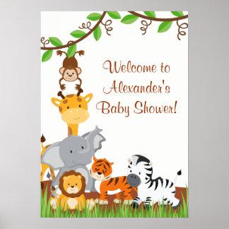 Cute Safari Jungle Animals Baby Boy Shower Poster