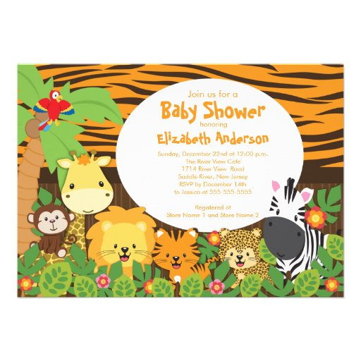 cute safari jungle animals baby shower invitations 5 x 7 invitati