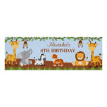 Cute Safari Jungle Animals Birthday Party Banner