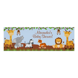 Cute Safari Jungle Animals Boy Baby Shower Banner Posters