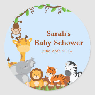 Cute Safari Jungle Baby Shower Stickers Stickers