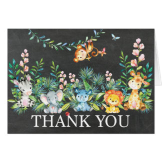 Cute Safari Jungle Baby Shower Thank You Note Card