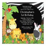 Cute Safari Jungle Birthday Party Invitations
