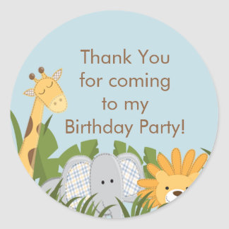 Cute Safari Jungle Birthday Party Round Stickers