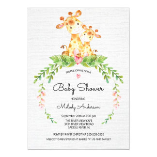 Cute Safari Jungle Girraffe Baby Shower Invitation