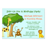 Cute Safari Jungle Zoo Animals Kids Birthday Party 13 Cm X 18 Cm Invitation Card