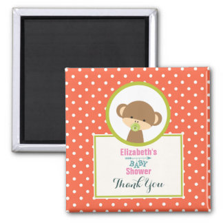Cute Safari Monkey Baby Shower Thank You Magnet