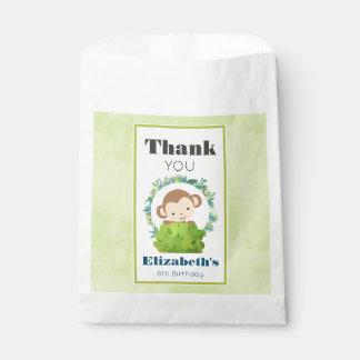 Cute Safari Monkey Birthday Thank You Favour Bag