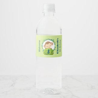 Cute Safari Monkey Birthday Welcome Water Bottle Label