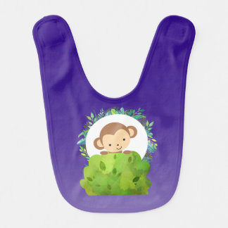 Cute Safari Monkey with Tropical Leaves on Purple Bib