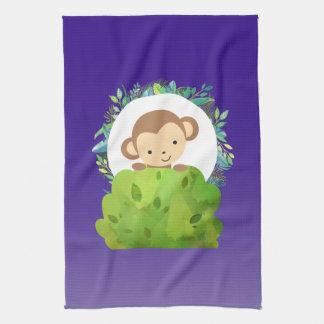Cute Safari Monkey with Tropical Leaves on Purple Tea Towel