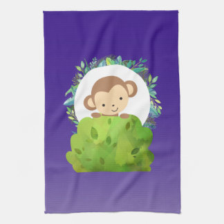 Cute Safari Monkey with Tropical Leaves on Purple Towels