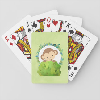 Cute Safari Monkey with Tropical Leaves Playing Cards