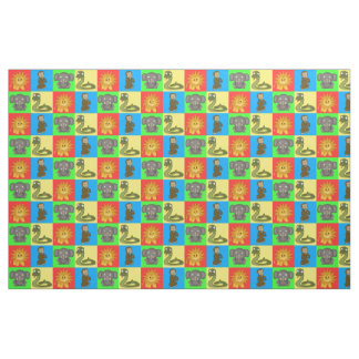 Cute Safari or Jungle Animals Tiled Mosaic Pattern Fabric