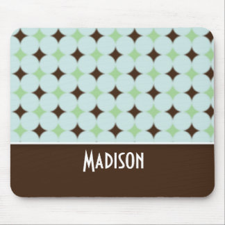 Cute Sage Green & Brown Mouse Pad