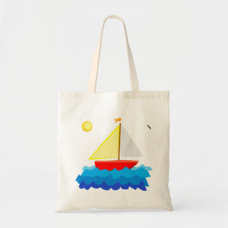 Cute Sailboat Beach Tote Bag
