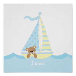 Cute Sailboat Bear Nursery Wall Art