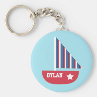 Cute Sailboat Nautical For Little Sailors Basic Round Button Key Ring