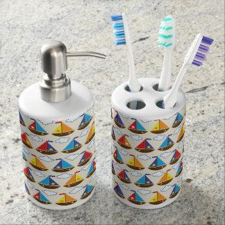 Cute Sailboat Pattern 2 Toothbrush Holder