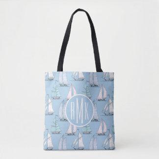 Cute Sailboat Pattern | Monogram Tote Bag