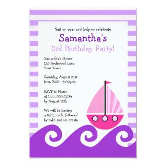Cute Sailboat Pink & Purple Birthday Invite 5x7