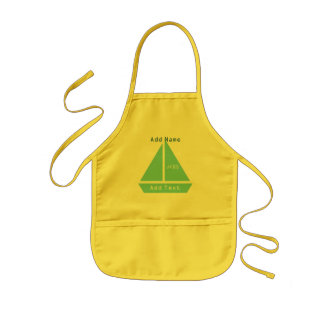 Cute Sailor Boat  Custom Text Kids Apron