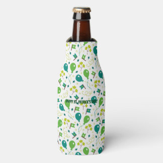 Cute Saint Patrick's Day Balloons and Flags Bottle Cooler