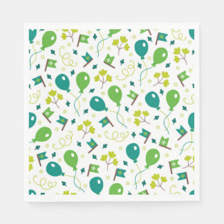 Cute Saint Patrick's Day Balloons and Flags Paper Napkin